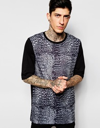 Asos Super Longline T Shirt With Crocodile Skin Print Black