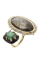 Alexis Bittar Cocktail Ring With Crystals Gold