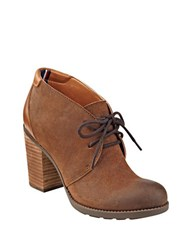 Tommy Hilfiger Duff Lace Up Suede And Leather Booties Tan