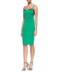 Noam Hanoch Guinevere Fitted Crepe Lace Dress Kelly Green