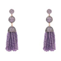 Latelita London Tassel Ball Earring Amethyst Pink Purple Rose Gold