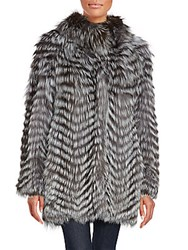 Karl Lagerfeld Feathered Fox And Rabbit Fur Coat Grey