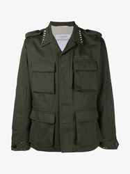 Valentino Rockstud Untitled Field Jacket Linen Khaki Green Black Navy Grey Multi Colou