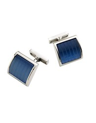 Kenneth Cole Square Glass Cuff Links Silver Blue