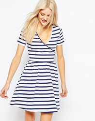 Asos Skater Mini Dress With Ballet Wrap In Stripe Stripe Multi