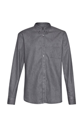 French Connection Plain Slim Fit Long Sleeve Button Down Shirt Grey Denim