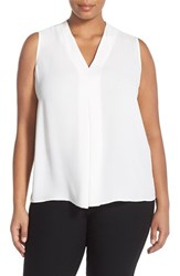 Plus Size Women's Sejour Pleat Front V Neck Shell