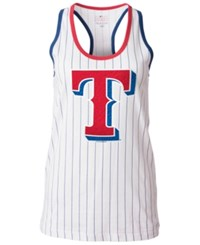 5Th And Ocean Women's Texas Rangers Pinstripe Glitter Tank Top White
