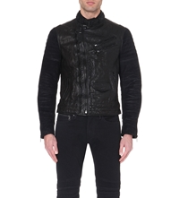 Ralph Lauren Black Label Grand Prix Leather Jacket Rider Black