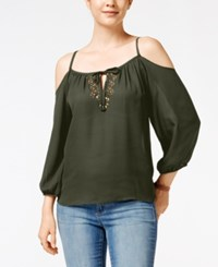 Amy Byer Bcx Juniors' Embellished Cold Shoulder Blouse Olive