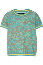 Sibling Printed Stretch Cotton Blend Top Turquoise