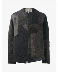 By Walid Liam Textured Linen Bomber Jacket Brown Grey Beige Linen Black