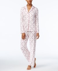 Alfani Printed Knit Pajama Set Only At Macy's Ivory Medallion