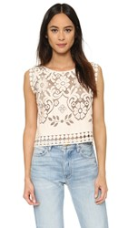 Giada Forte Embroidered Floral Top Naturale