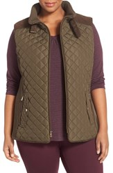 Gallery Plus Size Women's Quilted Vest With Faux Suede Trim Fatigue