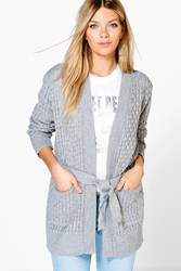 Boohoo Belted Cable Pocket Cardigan Grey