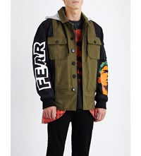 Moschino Hooded Shell And Twill Jacket Khaki Black