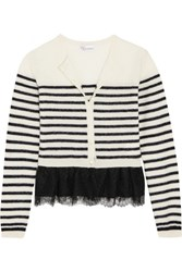 Red Valentino Redvalentino Lace Trimmed Wool Cardigan Navy