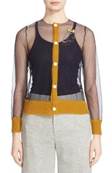 Undercover Women's Mesh Cardigan With Mohair Trim