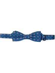 Dolce And Gabbana Diamond Patterned Bow Tie Blue