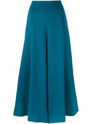 P.A.R.O.S.H. Cropped Wide Leg Trousers Blue