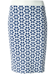 Alexander Mcqueen Embossed Cut Out Flower Jacquard Pencil Skirt White
