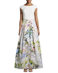 Theia Cap Sleeve Floral Pleated Skirt Gown