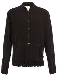 Greg Lauren Mandarin Neck Frayed Shirt Black