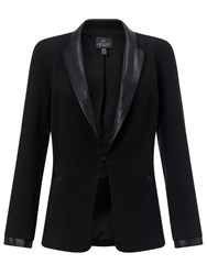 Adrianna Papell Faux Leather Tailored Jacket Black