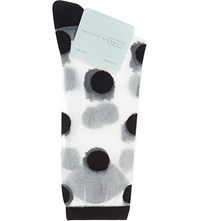 Hansel From Basel Large Polka Dot Sheer Crew Socks Black