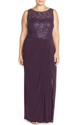Plus Size Women's London Times Sequin Lace Bodice Sheath Gown