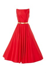 Romona Keveza Bateau Neckline Tea Length Gown Red