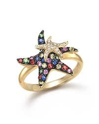 Bloomingdale's Multi Sapphire And Diamond Starfish Ring In 14K Yellow Gold