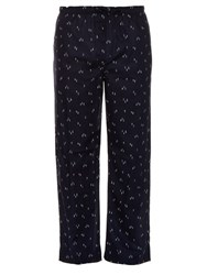 Derek Rose Skier Print Cotton Pyjama Trousers Navy Multi