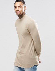 Asos Longline Muscle Long Sleeve T Shirt With Turtle Neck And Curve Hem Beige