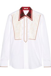 Miu Miu Lace Paneled Embellished Cotton Poplin Shirt White