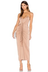 Pink Stitch Cascade Maxi Dress Brown