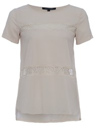 French Connection Polly Plains Shortsleeved Roundneck Top Classic Cream