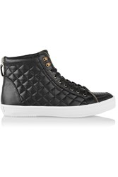 Rebecca Minkoff Sandi Zip Detailed Quilted Leather Sneakers Black