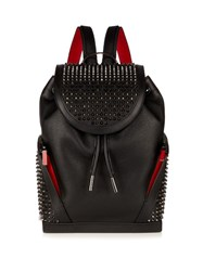 Christian Louboutin Spike Embellished Leather Backpack Black Multi