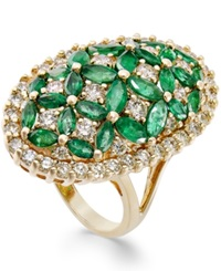 Macy's Emerald 3 1 5 Ct. T.W. And Diamond 1 3 4 Ct. T.W. Floral Inspired Ring In 14K Gold Green