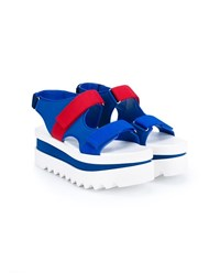 Stella Mccartney Velcro Wedge Sandals Cobalt Blue Red White Denim