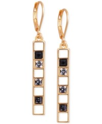 T Tahari Gold Tone Scattered Crystal Linear Drop Earrings