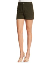 J Brand Jeans Mila Mid Rise Leather Shorts Camo Green Size 30