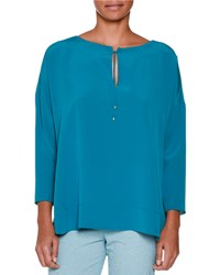 Piazza Sempione Long Sleeve Peasant Blouse Teal Blue