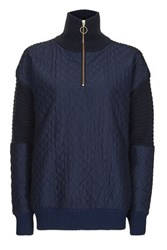 Topshop Quilted Zip Front Hybrid Jumper Navy Blue