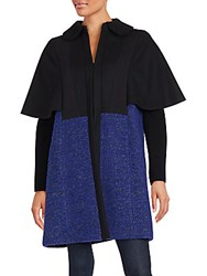 M Missoni Colorblock Wool Blend Coat Blue Violet