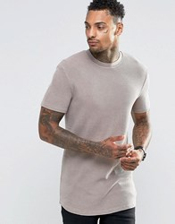 Asos Longline Muscle T Shirt In Waffle With Bleach Wash In Brown Brown