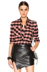 Derek Lam 10 Crosby Pocket Henley Top In Pink Checkered And Plaid