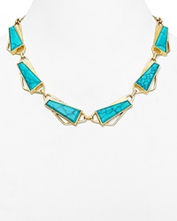 Dylan Gray Statement Necklace 16 Gold Blue